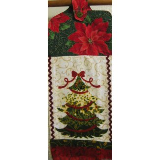 christmas tree holly oven door kitchen towel 2