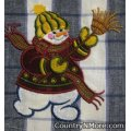 embroidered appliqued snowman kitchen tea towel