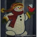 embroidered snowman cardinal bird holiday winter kitchen towel