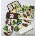 chateau wine oven door towel dish cloth mitt set