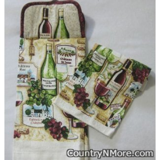 chateau wine potholder oven door towel matching dishcloth