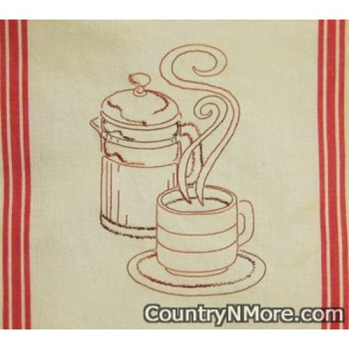 hot coffee embroidered kitchen tea towel