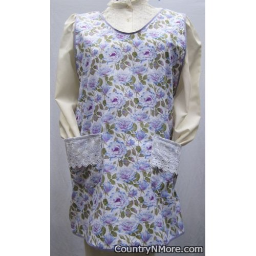 vintage floral eyelet slip over ties apron sizes 18 20