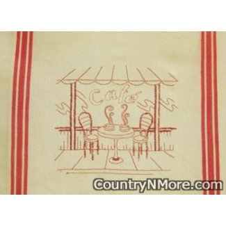 cafe restaurant scene embroidered kitchen tea towel