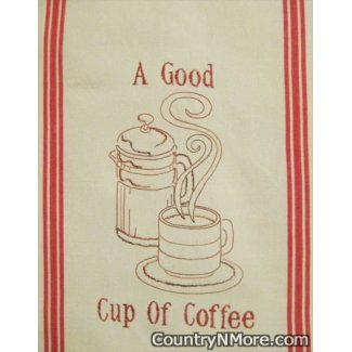 good cup coffee embroidered kitchen tea towel