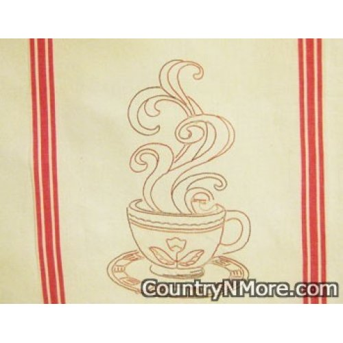 steaming cup coffee embroidered kitchen tea towel