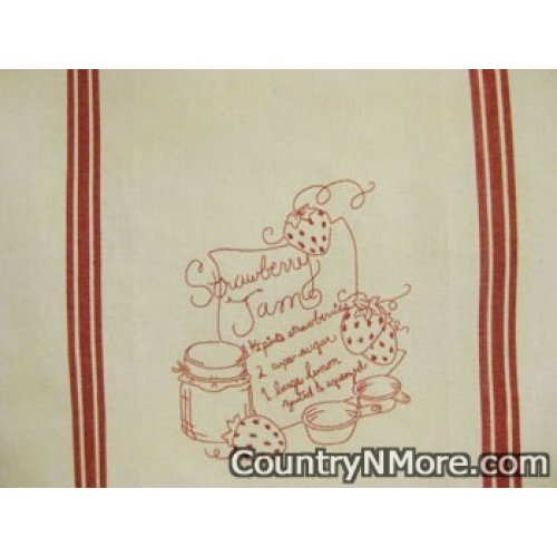 strawberry jam recipe embroidered kitchen tea towel