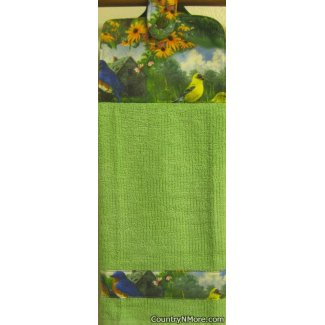 birds garden oven door towel