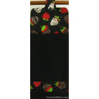 chocolate covered strawberries oven door kitchen towel