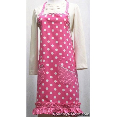 cute bright pink polka dot bib apron