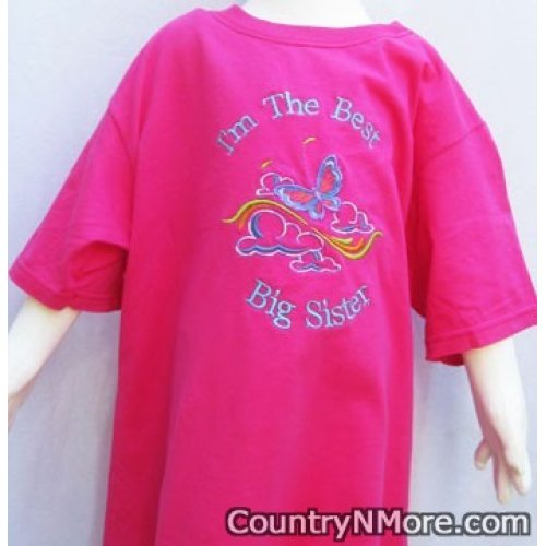 best big sister embroidered t shirt pink