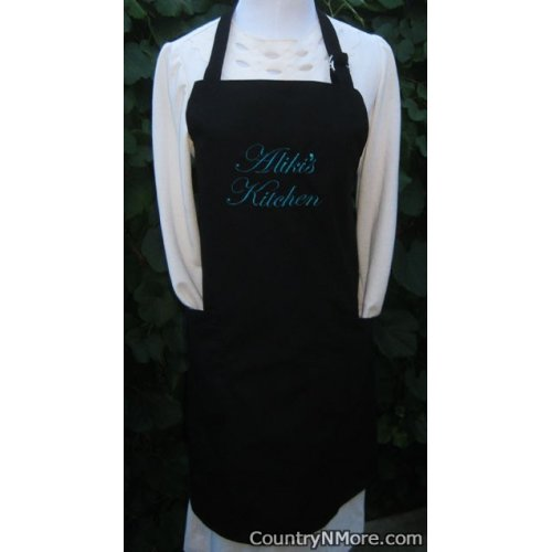 custom embroidered bbq apron black alikis kitchen