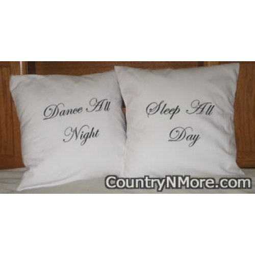 embroidered dance night sleep day pillow cover