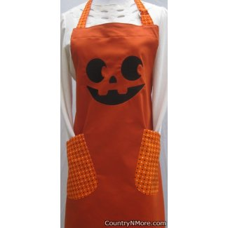 embroidered jack o lantern halloween adult bbq apron