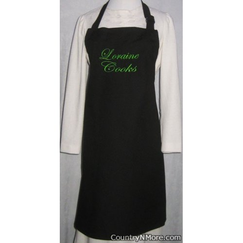 custom embroidered bbq apron loraine cooks