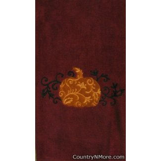 elegant embroidered fall filigree pumpkin kitchen bath towel