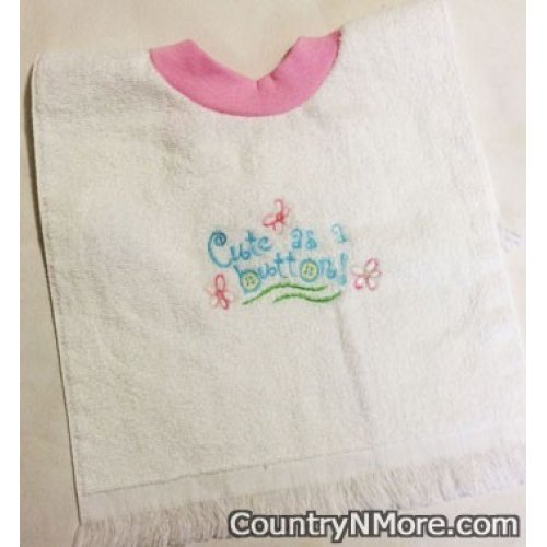 embroidered cute button baby girl bib