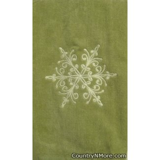 embroidered snowflake kitchenbath towel light green