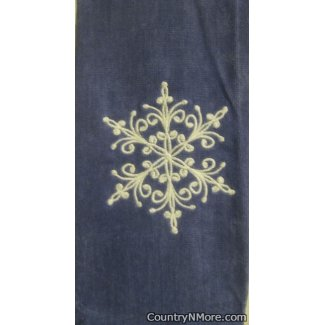 large embroidered snowflake christmas kitchenbath towel blue