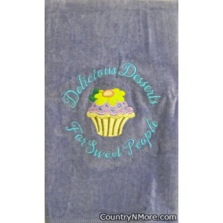 embroidered cupcake delicious desserts sweet people towel