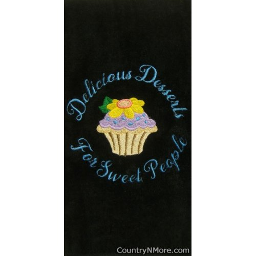embroidered cupcake kitchen towel black