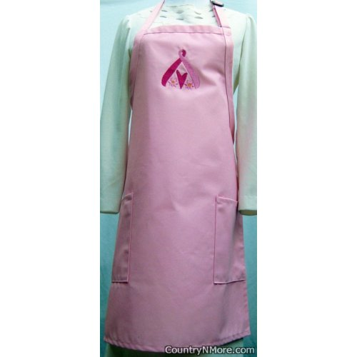 pink ribbon hope embroidered apron