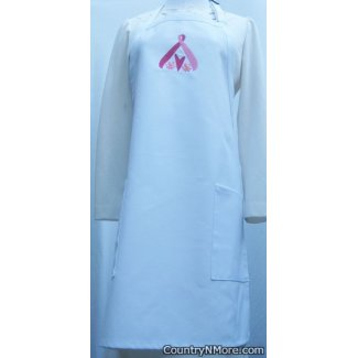 pink ribbon hope embroidered white apron