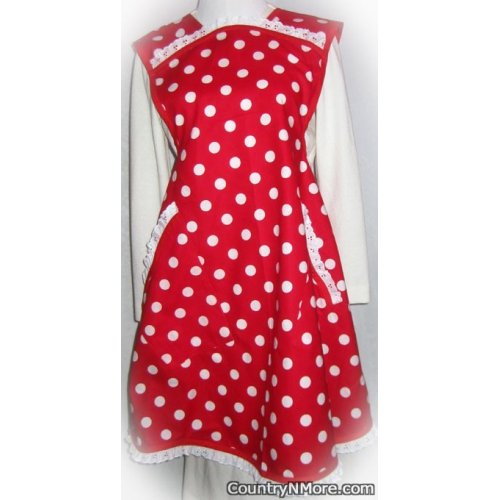 vintage red large white polka dots