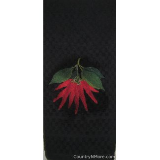 embroidered chili pepper kitchen towel black