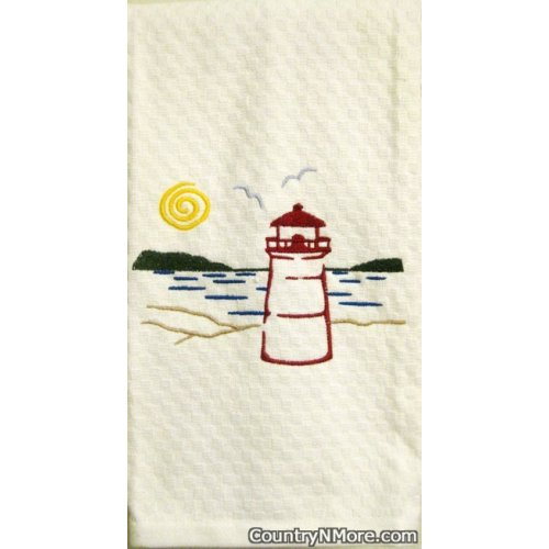lighthouse embroidered kitchen terry tea towel