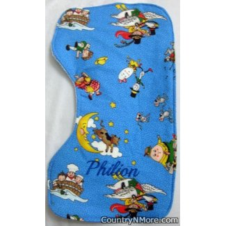 Baby gifts personalized embroidered burp cloth mother goose negle Image collections