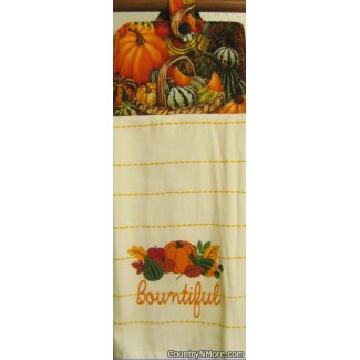 bountiful harvest fall theme oven door kitchen towel