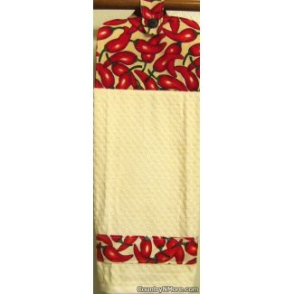 chili pepper border oven door kitchen towel