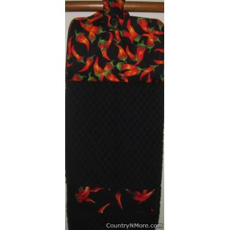 chili pepper oven door towel black