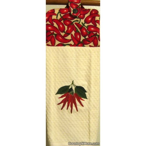 embroidered chili pepper oven door kitchen towel
