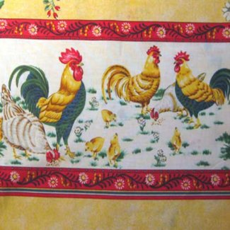 amys apron rooster border fabric