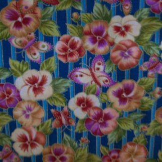 butterflies pansies fabric