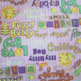 cute cuddly bug phrases fabric