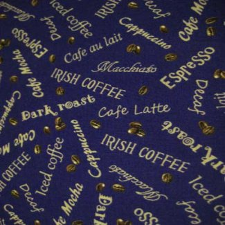 elizabeth studios love coffee fabric blue