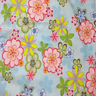 retro flowers blue fabric