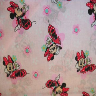 minnie mouse light pink background fabric