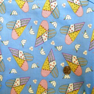 patchwork hearts fabric
