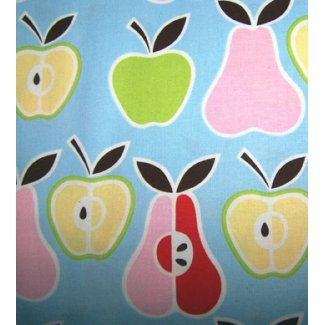 retro apples pears fabric