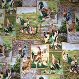 rooster chicken scenes fabric