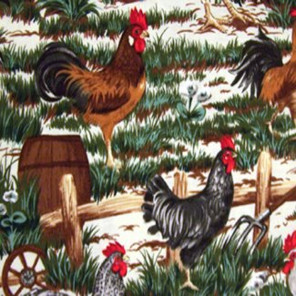 roosters chickens cream fabric