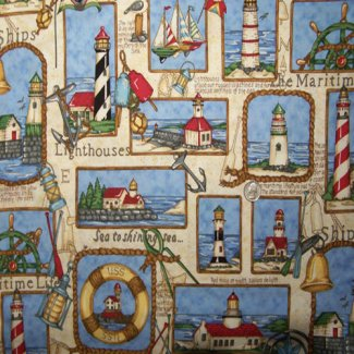 lighthouse squares fabric