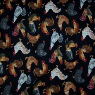 small roosters chickens fabric