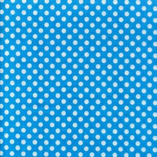 turquoise white polka dots fabric
