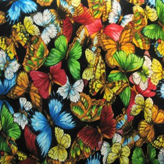 butterflies black fabric