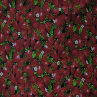 strawberries black fabric